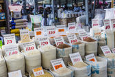 Beautiful vivid oriental market with bags full of various spices