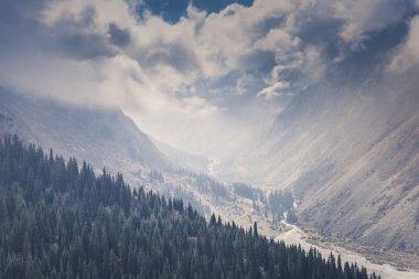 """Картина, постер, плакат, фотообои """"панорама горного ландшафта ущелья ала-арча в сумме постеры картины модульные фотографии графика"""", артикул 85332400"""