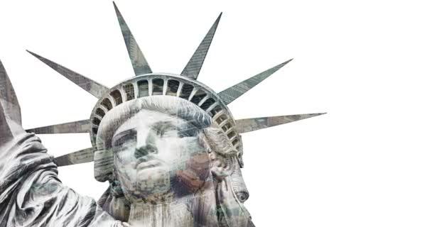 Socha svobody v New Yorku. Dvojitá expozice nad bílým pozadím