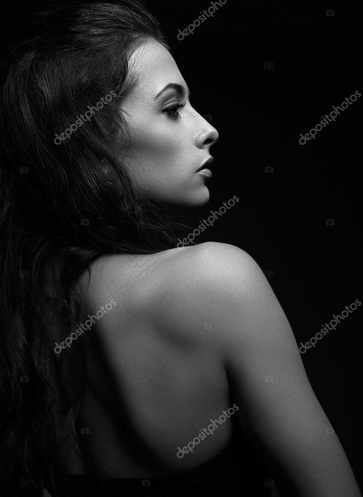 Beautiful woman face profile looking black and white portrait photo by nastia1983