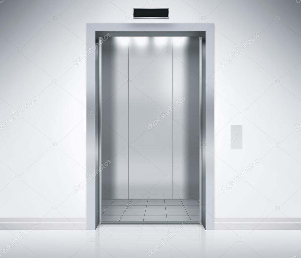 An empty modern elevator or lift with metal doors that are open in building with lighting. u2014 Photo by axstokes & Elevator Doors Open u2014 Stock Photo © axstokes #72779503