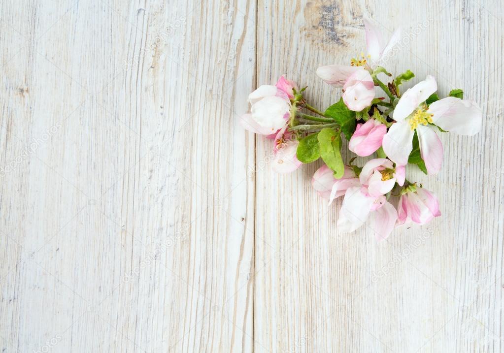 Fondo De Madera Vintage Con Flores Blancas Manzana Y: Flores De Manzana Sobre La Superficie De Madera Blanca