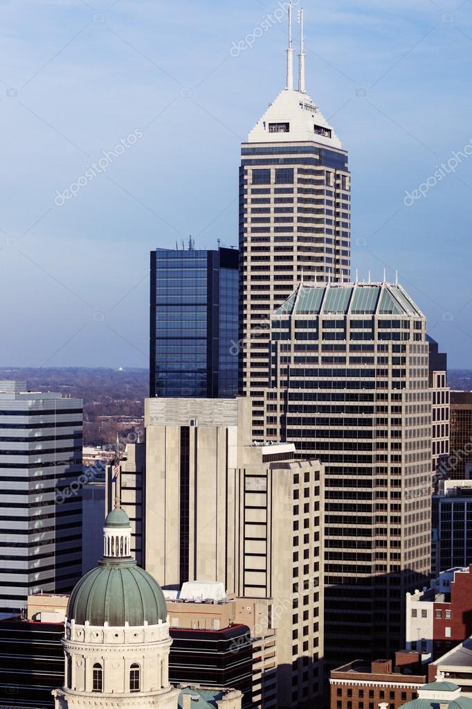 indiana skyline of the city with state capitol builidng stock
