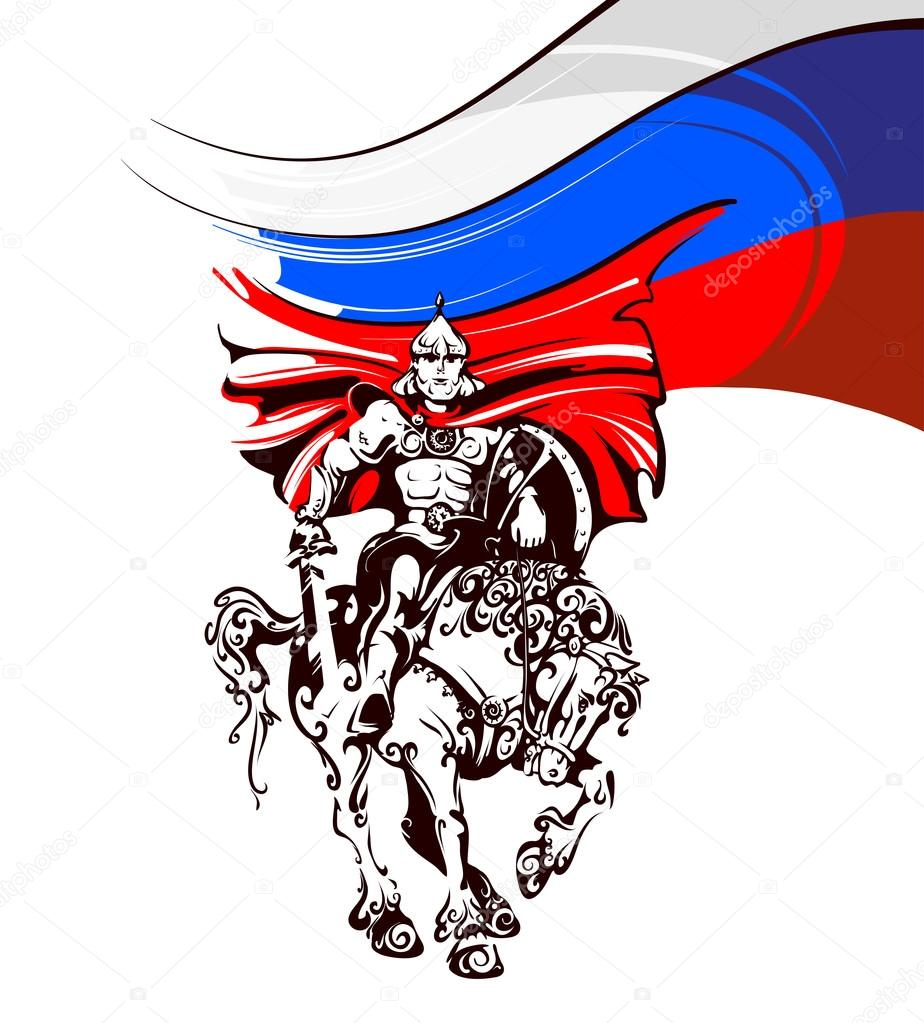 russian warrior in armor on a horse on the background of the flag