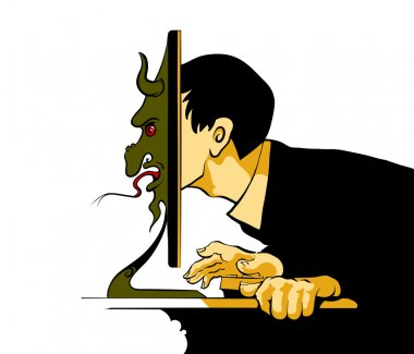 Internet troll sitting at the computer