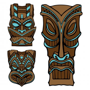 Hawaiian tiki god statue carved wood vector illustration