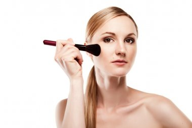 Beauty Girl with Makeup Brush