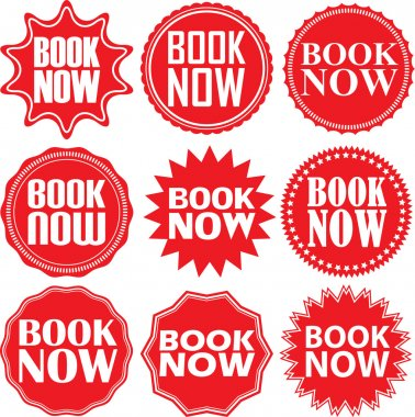 Book now red label. Book now red sign. Book now red banner. Vect