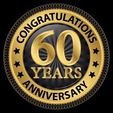 60 years anniversary congratulations gold label with ribbon, vec