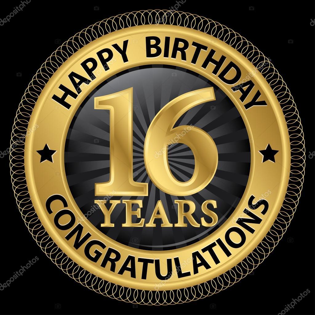 16 jaar gefeliciteerd 16 jaar gelukkige verjaardag Gefeliciteerd gold label, vector  16 jaar gefeliciteerd