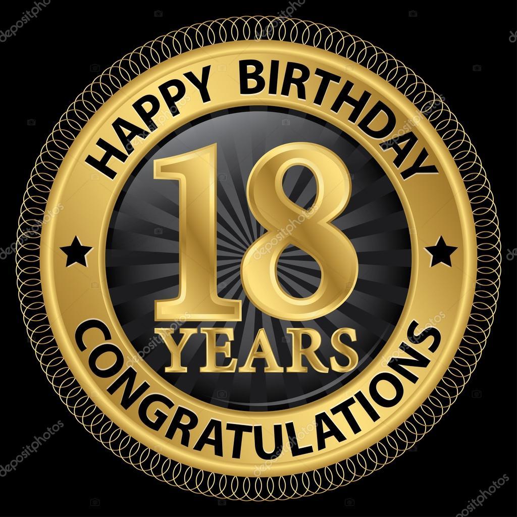 Bedwelming 18 jaar gelukkige verjaardag Gefeliciteerd gold label, vector &GU51