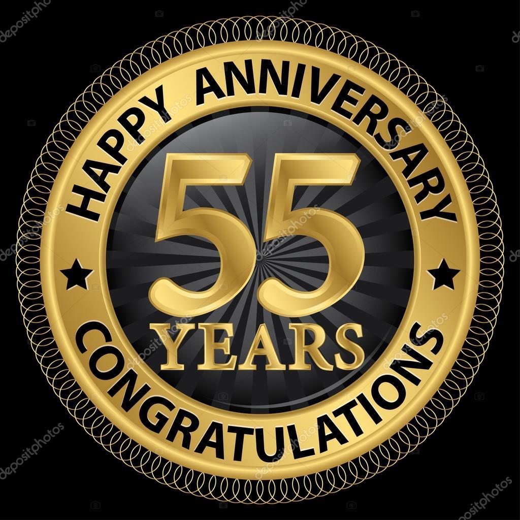 grattis på 55 årsdagen 55 år lycklig årsdag Grattis gold label med ribbo — Stock Vektor  grattis på 55 årsdagen