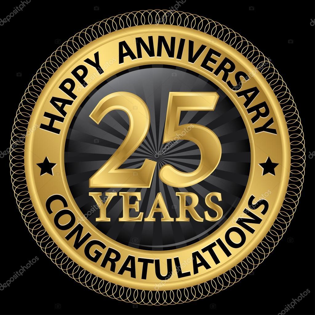 25 Jaar Gelukkige Verjaardag Gefeliciteerd Goud Label Met Ribbo