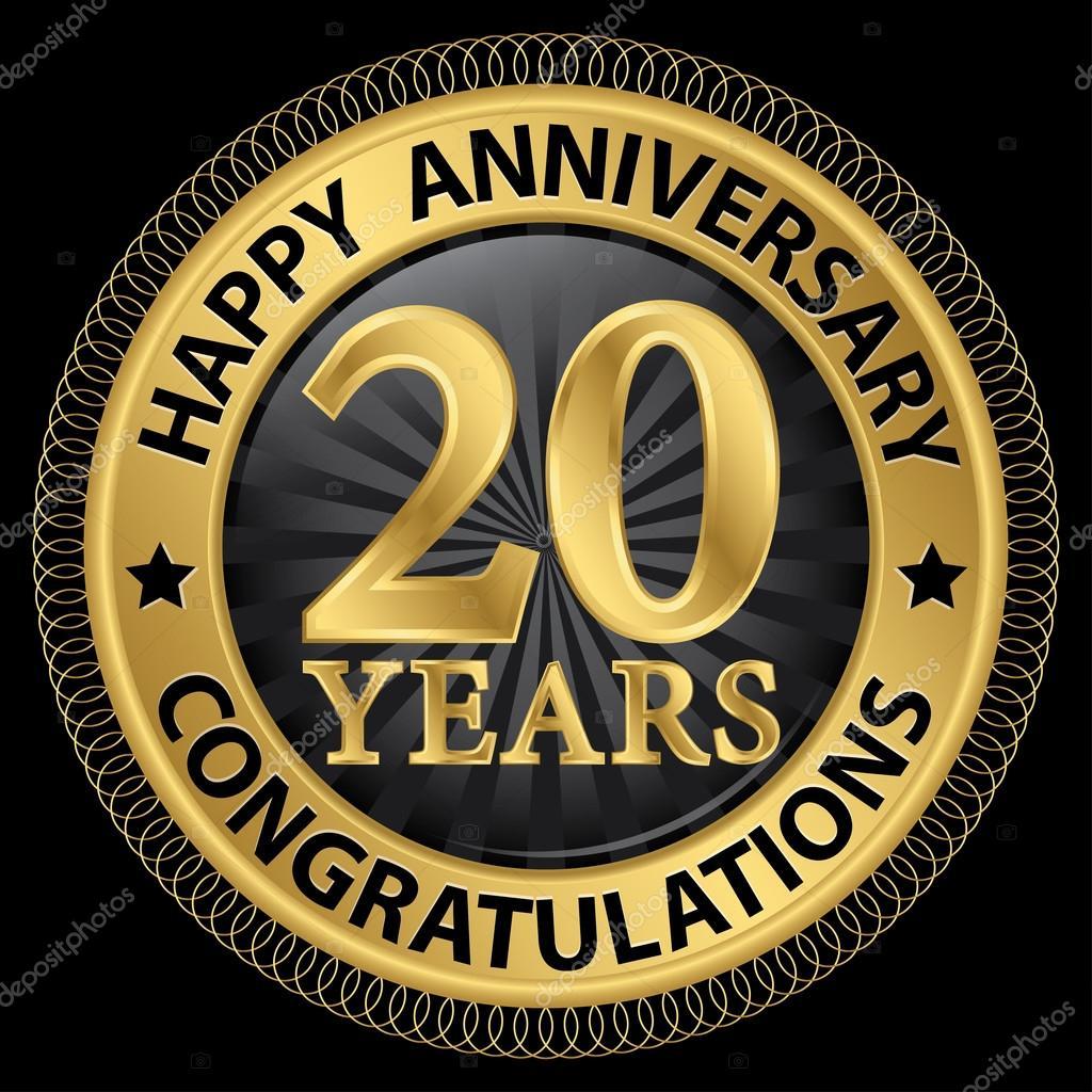 Etiquette De Felicitations Or Joyeux Anniversaire 20 Ans Avec Ruban