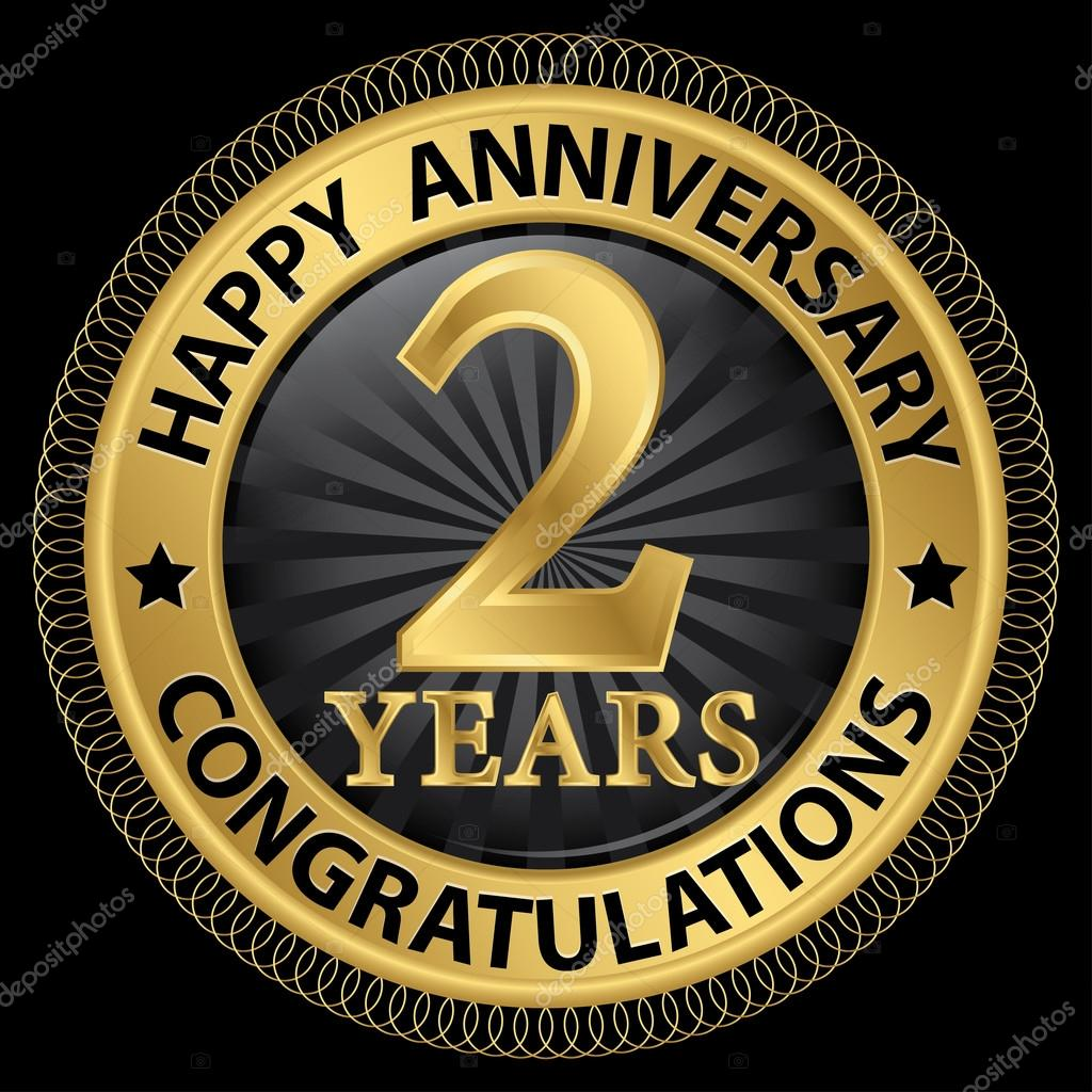 Years happy anniversary congratulations gold label with