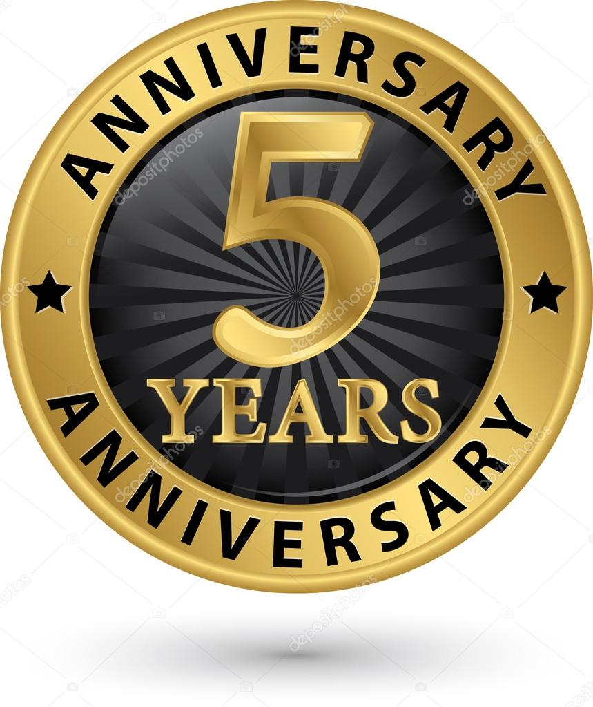 5 Years Anniversary Gold Label Vector Illustration Stock Vector