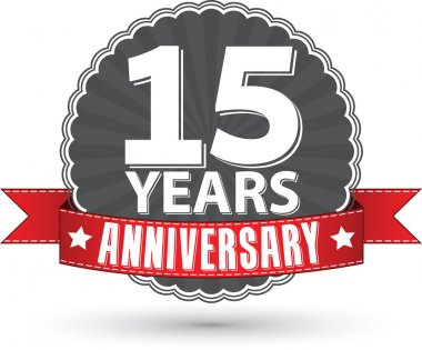 Celebrating 15 years anniversary retro label with red ribbon, ve