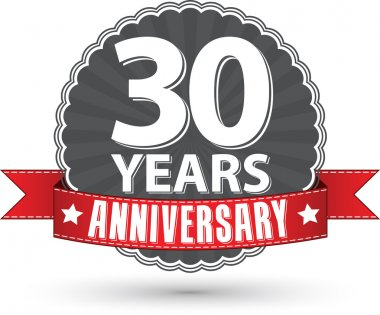 Celebrating 30 years anniversary retro label with red ribbon, ve