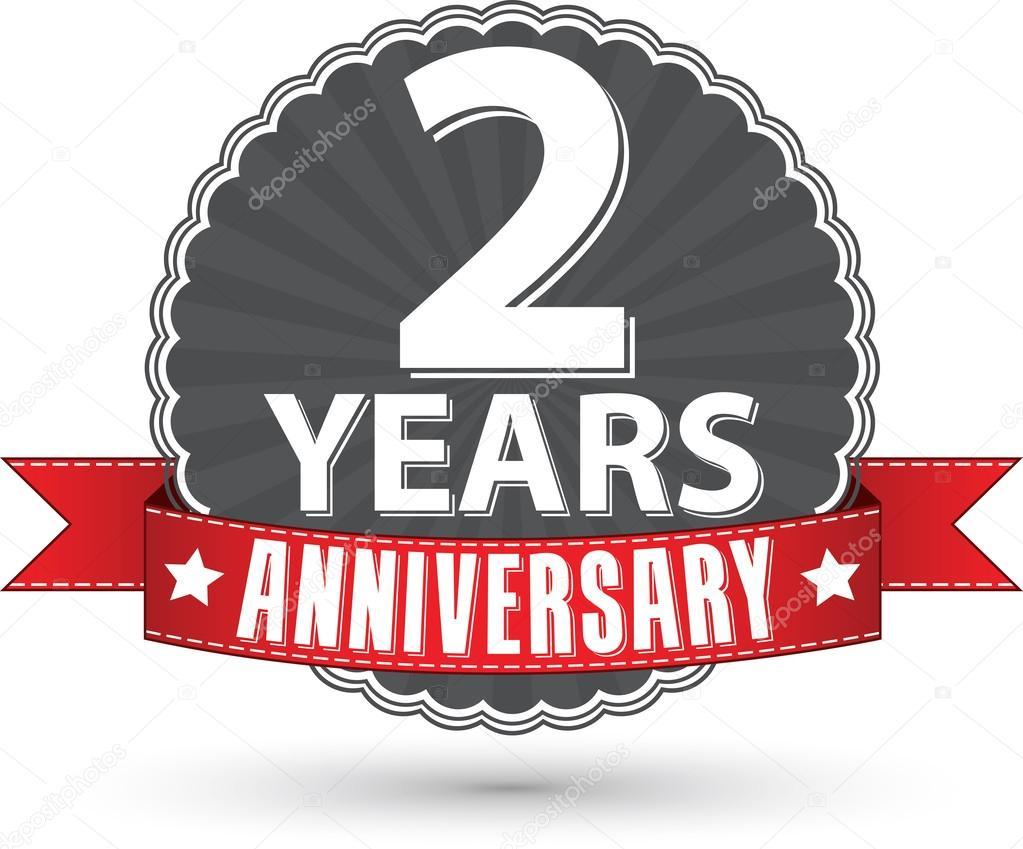 Vieren 2 Jaar Verjaardag Retro Label Met Rood Lint Vec