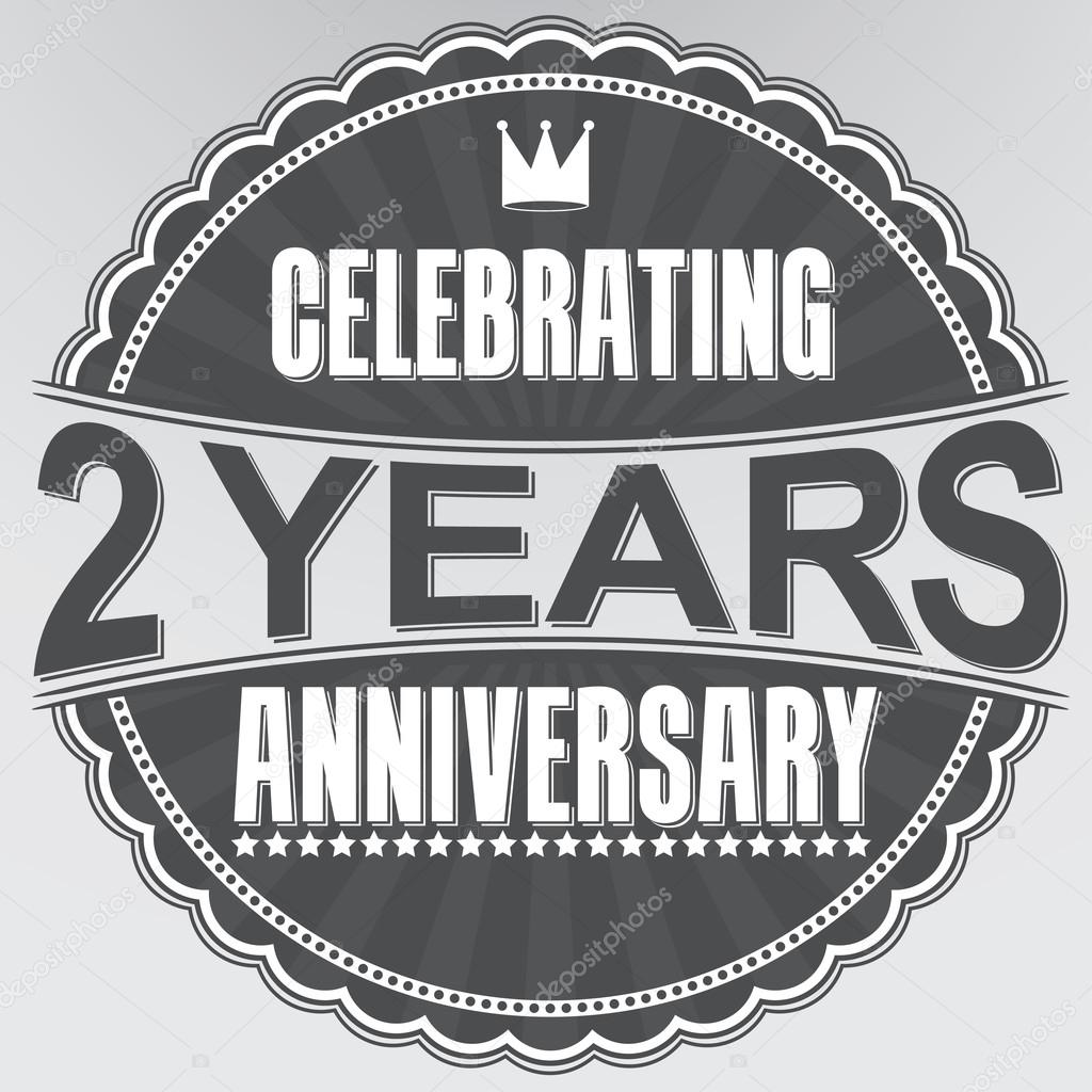 Vieren 2 Jaar Verjaardag Retro Etiket Vector Illustratie