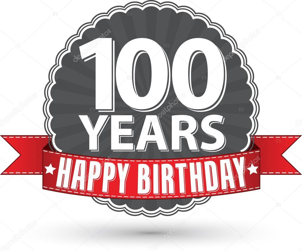 100 grattis bilder Grattis på födelsedagen 100 år retro etikett med rött band, vektor  100 grattis bilder