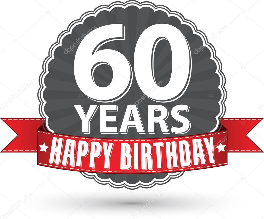 60 år grattis Grattis 60 år retro etikett med rött band, vektor illustration  60 år grattis