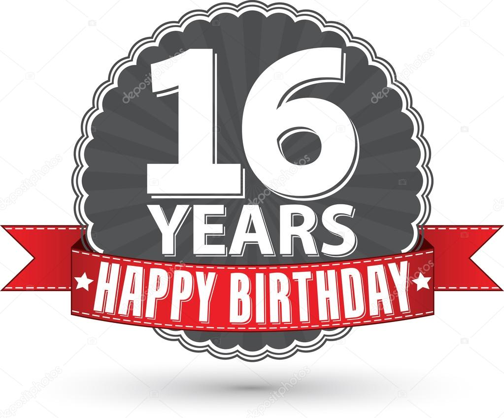 Gelukkige Verjaardag Sweet 16 Jaar Retro Label Met Rood Lint Vecto