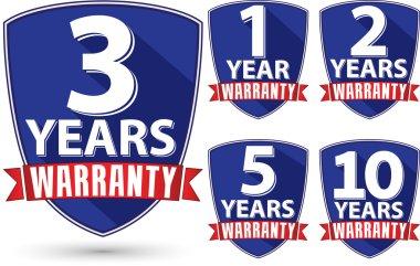 Flat design warranty label set with red ribbon, vector illustrat