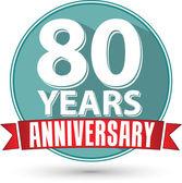 Fotografie Flach 80 Jahre Jubiläum Designlabel mit roter Schleife, vector i