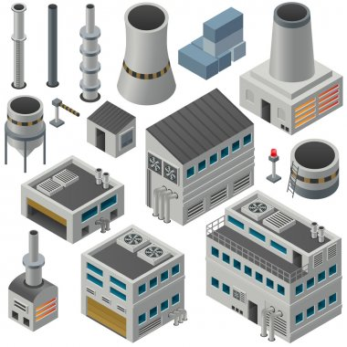 Isometric industrial buildings and other objects