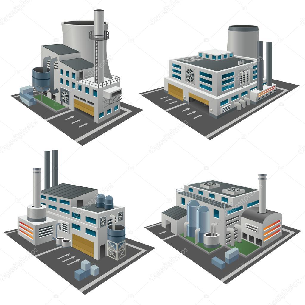 Set of perspective factories