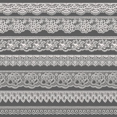 Set of decorative borders stylized like laces