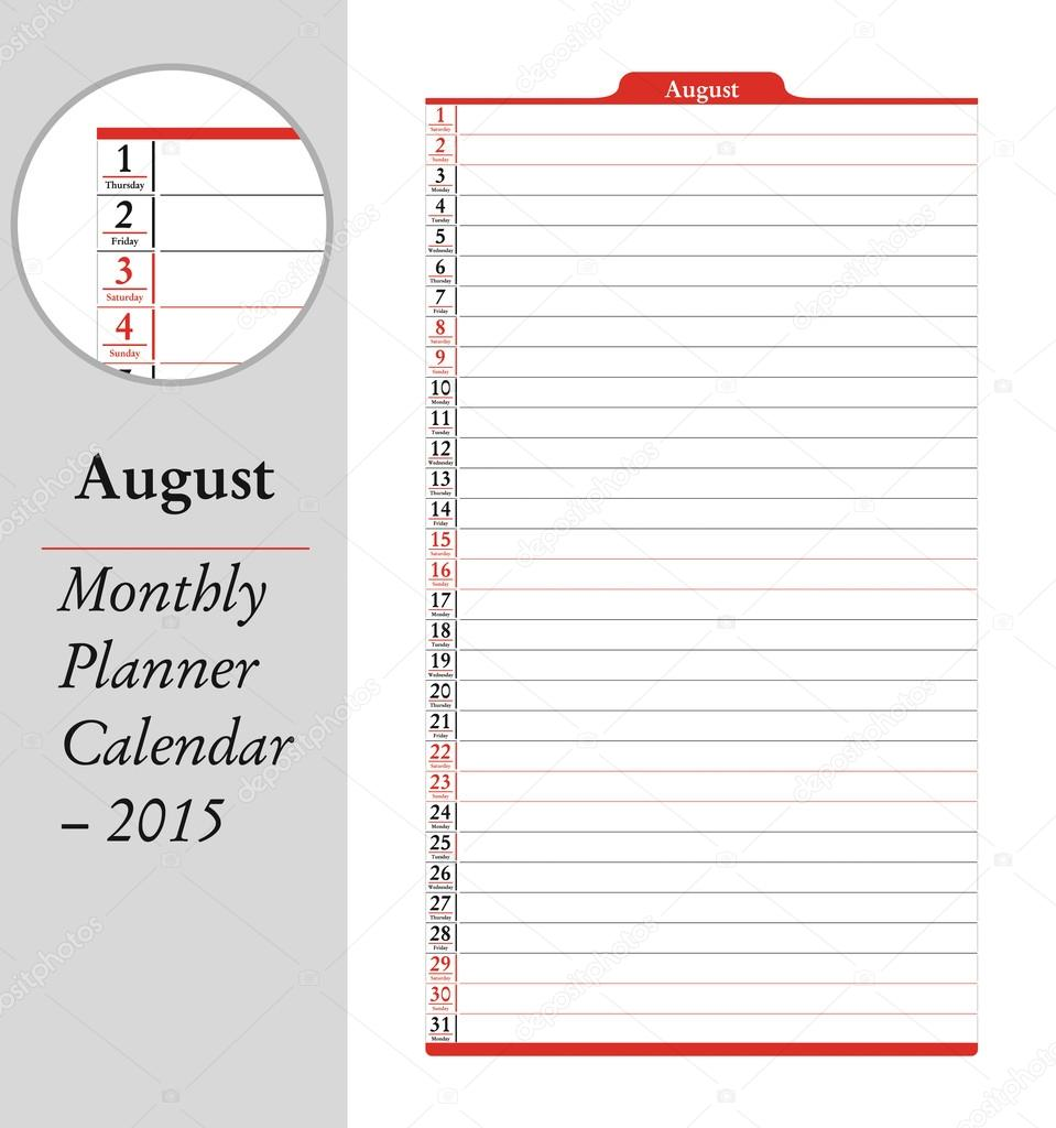 august montly planner calendar 2015 stock vector eltoro69