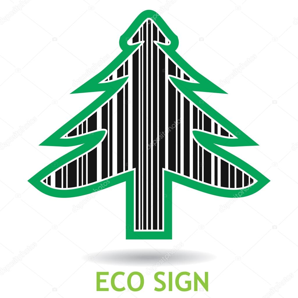 Ecology sign with pine tree