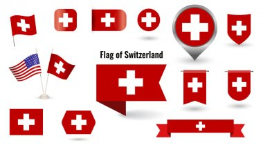 The Flag of Switzerland. Big set of icons and symbols. Square and round Switzerland flag. Collection of different flags of horizontal and vertical. vector illustration. icon