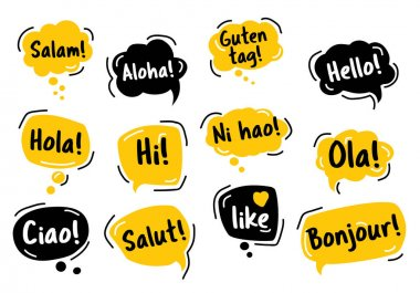 Speech Bubble. Hello, in different languages of the world. Hand drawn doodle talking bubbles. Bright yellow thought bubbles. Vector illustration doodle style. icon