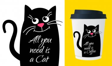 Dreamy Cute cat with text. All need is a cat. Kawaii black cat. Vector cartoon Illustration in flat. For printing on cup, t-shirts or Greeting card. icon