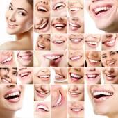 Sammlung von menschlichen Lächeln mit gesunden weißen Zähnen