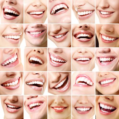 Set of 25 beautiful wide human smiles