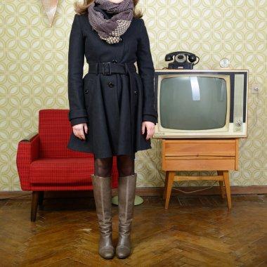 Woman in vintage room