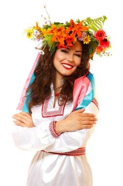 Ukrainian woman in garland of flowers
