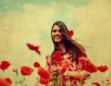 Woman on  poppy field