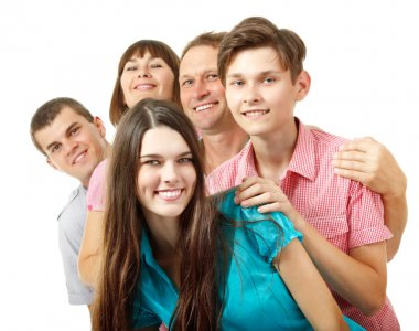 Caucasian family having fun and smiling