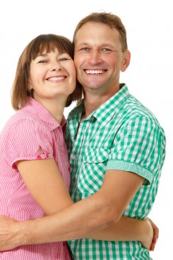Woman with man in love smiling
