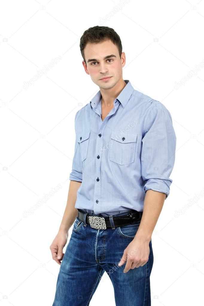 best service f9c3b 1efb8 Uomo in camicia azzurra e jeans — Foto Stock © khorzhevska ...