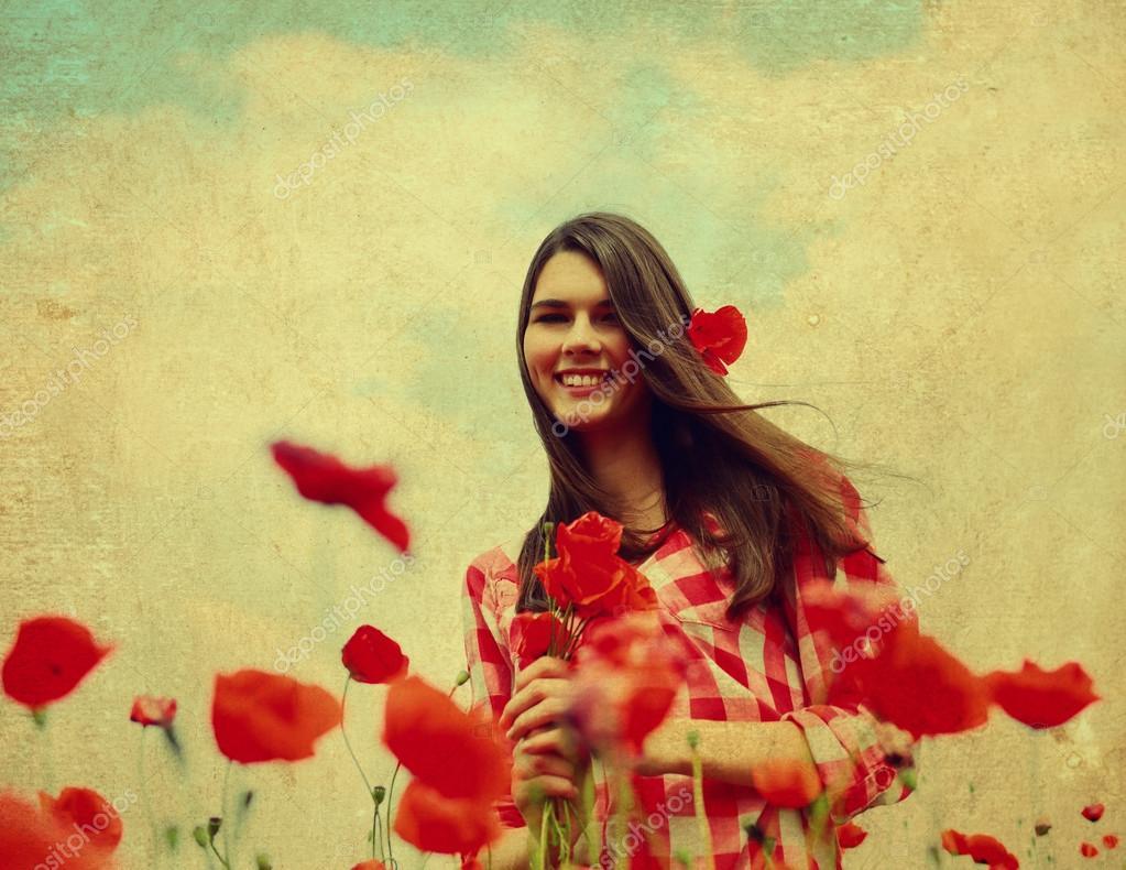 Woman on  poppy field