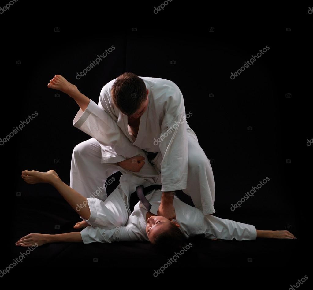 Fighting karate couple