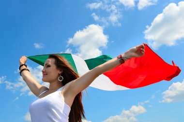 woman holding italian flag