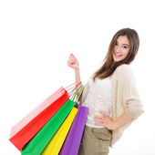 girl shopaholic with shopping bags