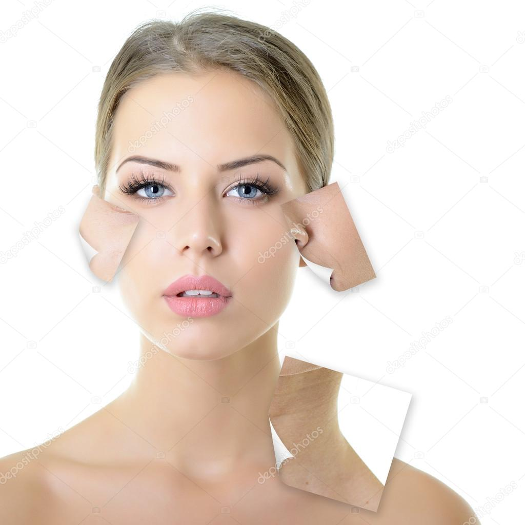 Woman with problem and clean skin